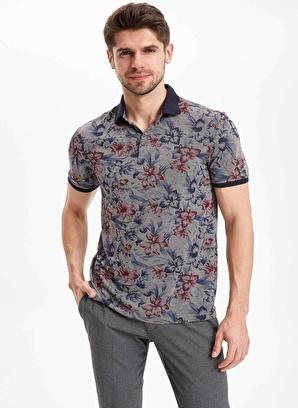 DeFacto Slim Fit Çiçek Desenli Polo T-Shirt